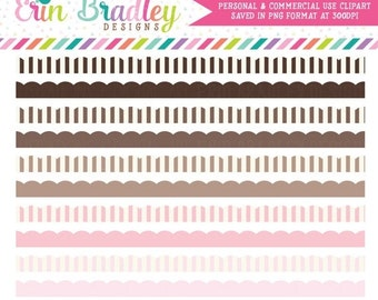 70% OFF SALE Pink & Brown Scalloped Borders Clipart, Striped Border Clipart Graphics, Instant Download Digital Scrapbooking Clip Art
