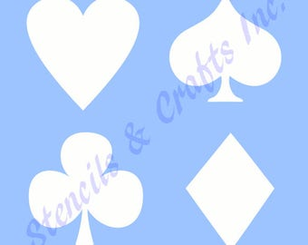 PLAYING CARDS STENCIL symbols heart club spade diamond stencils background scrapbook craft paint art pattern template templates new
