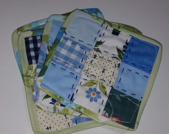 Patchwork Coaster set, Blue Fabrics and Tulips, reversible,  cotton fabric, beverage coaster, hostess gift