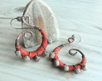 Silk Wrapped Spiral Earrings, Medium, Burnt Orange and Grey, Bohemian Hoops, Dark Copper Dangles, with Sterling Ear Wires