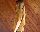 extra 30% off sale . . . Putty Brown Oversized Knit Sweater Short Sleeves- Vintage 90s - MEDIUM
