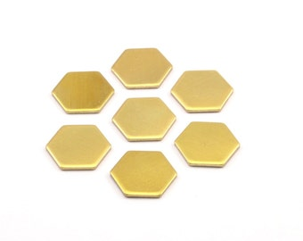 30 Raw Brass Hexagon Stamping Blanks  (12.5x1mm) A0959