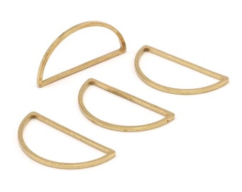 Brass Half Moon - 24 Raw Brass Semi Circle Connectors (15x30x1.2mm) Bs 1173