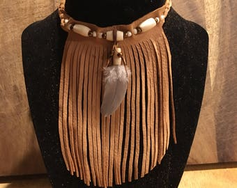 leather fringed choker