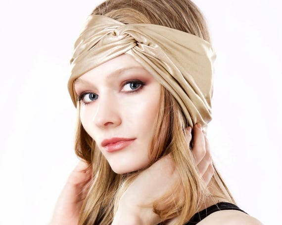 Gold Turban Headband Turband Headwrap Hair Accessory Metallic Head Band Spring Fashion Boho Chic Style Evening Accessory 1920s Headband
