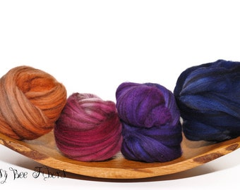 FRUIT BOUNTY - Color Fractal Merino Wool, Hand Dyed, Wool, Roving, Combed Top, Spinning or Felting Fiber Top - 4 oz