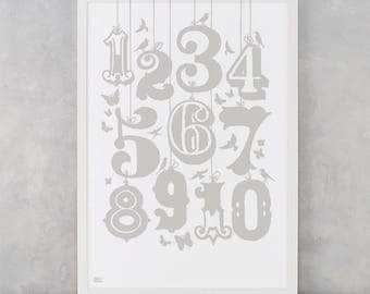 Count Numbers Screen Print, Numbers Wall Poster, Children's Wall Poster, Illustrated Wall Poster, Numbers Screen Print, Child's Screen Print