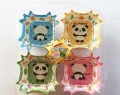 Cute Panda Bears Square Polyethylene Lined Paper Bento Liners / Cupcake Cups - Set Of 24