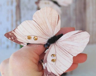 Set of 2 Blush Pink Butterfly Hair Clips with Rhinestones for your Prom or Wedding