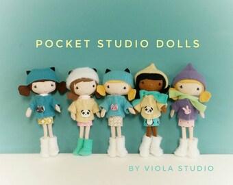 Pocket Studio Doll - Handmade, Doll, Miniature, Toy, Plush, Girl, Ready to Ship