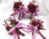 Custom for Yvette for 4 Corsages in Lilac, Burgundy Rose, and Lilac Orchid