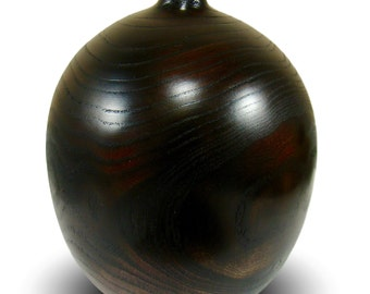 A Dark Beauty - Handmade Home Decor - Elm Wood Vessel - Burgundy