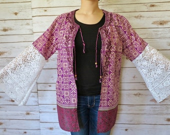 Embroidered Purple Boho Lace Geometric Tapestry Print Flowy Bell Sleeve Kimono Sweater One Size