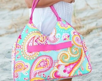paisley weekender duffle bag overnight travel luggage bridesmaid gift beach destination wedding monogrammed tote BeachHouseDreamsHomeOBX