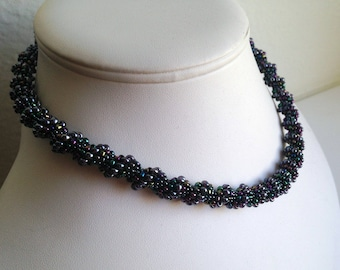 Spiral Tube Necklace in Purple Blue Iris
