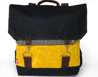 Waxed Canvas Backpack / Black and Yellow Waxed Canvas / Black and White Houndstooth Recycled Wool / Oiled Leather