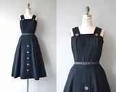 Charcoal Pinafore dress | vintage 1950s dress | wool 50s jumper dress