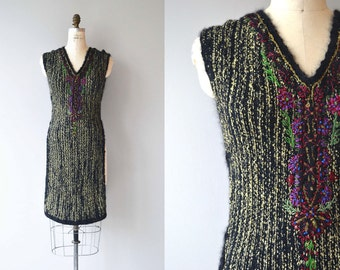 Rozanova knit tabard | rare 1920s wool knit dress | metallic knit 20s tabard