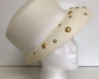 Vintage White Straw Hat with Gold Studs.