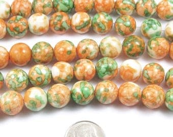 "10mm Orange and Green Rain Flower Stone Round Beads 15"" Strand (38)"