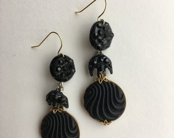 Edgy Black Chandelier Statement Earrings- Heirloom Collection