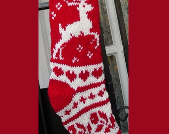 Hand knit Christmas stocking,  Personalized, made of pure wool yarn,  fully lined -- reindeer and snowflake
