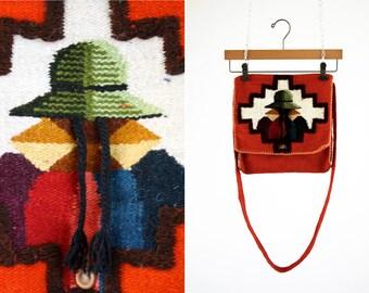 Orange Aztec Inspired Mexican Blanket Cross Body Purse