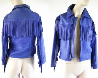 Vintage Cobalt Blue Leather Branded Brand Woman's Retro Fringe Fitted Size XXS/XS Coat