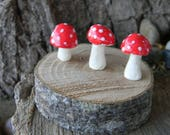Garden Mushroom Ceramic 3 miniature Statues  Home Grown Ceramic   red    terrarium or in the ground fairy windowsill box
