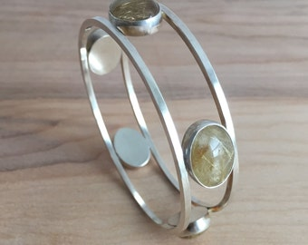 Rutilated Quartz and Sterling Silver 5 Stone Bangle Bracelet