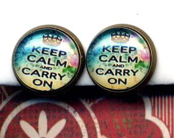 Clip On Earrings , Clip on Earrings Earrings, Clips Earrings, Keep Calm and Carry On Earrings, Clips Earrings by annaart72