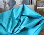 Turquoise Dupioni SILK - Aqua Blue, Raw Silk REMNANT PIECE