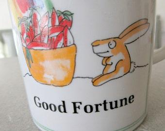 Vintage Mug, Good Fortune Mug, Ceramic Cup, Rabbit and Rainbow, Coffee Cup, Cute Kawaii Zakka, 1970s Enesco Mug,