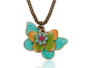 Antique Brass/Bronze Butterfly and Rhinestone Flower Pendant/Necklace - Sold Individually - #HK1392