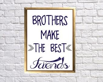 Printable Nursery Art, Brothers make the best friends, Navy Gray Tribal Woodland Printable, DIY Print for Nursery wall, 8x10