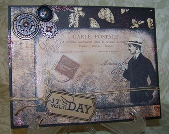 Fathers Day Card Handmade Vintage Style All Occasion Card for Men