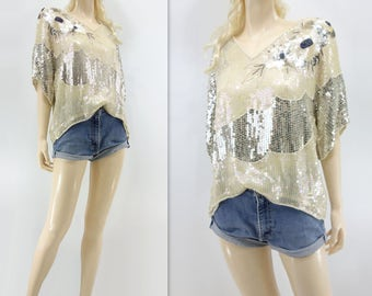 White Sequin Blouse Stunning Sequin Top Cream Silver Blouse Silk Beaded Blouse Vtg Sequin Blouse 80s White Sequin Top o/s s, m