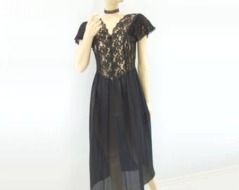 Vintage Black Slip 1980s Party Dress Black Lace Slip 80s Lace Slip Dress Stretch Lace Slip  Angel Sleeve Dress Midi Length Slip s to m