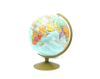 Vintage Blue Globe Replogle World Nation Globe with metal stand 12 inch Home Office Decor Display