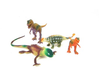 vintage destash lot of Plastic Dinosaurs children toys Shelf Display Room Decor