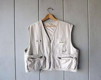 90s Khaki Outdoor Hunting Vest Zip Up Camping Hiking Jacket Vest Tackle Cargo Vest Cropped Fit Trekking Vest Field Vest DES Womens Large