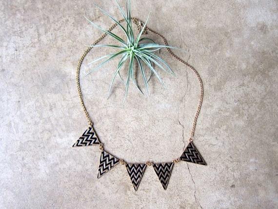 Vintage Triangle Necklace 80s Gold & Black CHEVRON Necklace Boho Jewelry Long Gold Necklace Geometric Necklace Hipster Boho Necklace