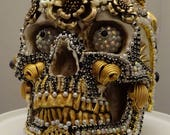 DEATH'S BRIDE A One Of A Kind Jeweled Skull Art Piece By Kathi Woodard