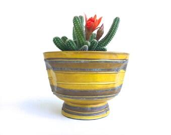 Mid Century Yellow Planter~ Modern Art Pottery Planter Pot~ Dijon Yellow with Terra Cotta Brown stripes