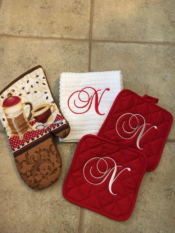 Monogrammed Kitchen Towel And Pot Holderoven Mitt Kitchen
