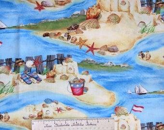 Nautical Fabric - Seaside Rendezvous Sandcastle Scene Blue - Wilmington YARD