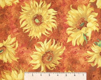 Fall Fabric - Slice of Sunshine Harvest Sunflower Brown - Wilmington YARD