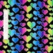 Fabric Traditions - Rainbow Hearts & Silver Glitter on Black Valentine's Day /Yd