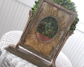 Antique Swivel Frame * RARE * Vintage * Oval * Silk Mat * Victorian
