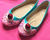 Teal with Pink Frosting Ice Cream Flats Size 8.5